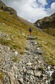 Hiker in the Atlantic Pyrenees, Bearn — Stock Photo