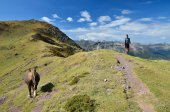 Tourists in the mountain passage in the Atlantic Pyrenees — 图库照片