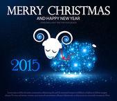Symbol of 2015. Shining Sheep. Vector illustration — Stock Vector
