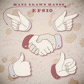 Hand gestures background — Vetor de Stock