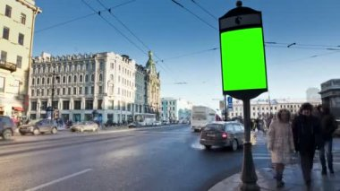 Billboard chromakey. St Petersburg. Russia. timelapse — Stock Video