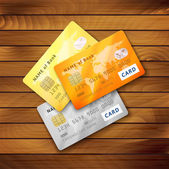 Set of detailed glossy credit cards — Stock Vector