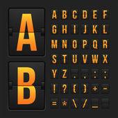Scoreboard letters and symbols alphabet panel — Stock Vector