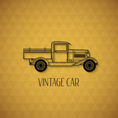 Retro pickup, truck car, vintage outline style — Stock Vector