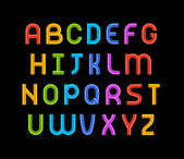 Wired wavy cable, colorful contour alphabet — Stockvektor