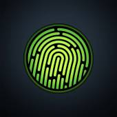 Fingerprint identification system, with green transparency light — Vettoriale Stock