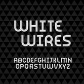 Wired wavy cable, white contour alphabet — Stockvektor