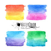 Watercolor textured paint stains colorful set — Stock Vector