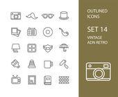 Iconos de contorno fino diseño plano, estilo de trazo de línea moderna — Vector de stock