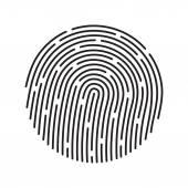 白で隔離される指紋同定システム、黒色記号 — ストックベクタ