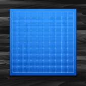 Blue square grid on wood texture — Stock Vector