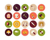 Castle and wepon flat icons set — Stock Photo