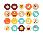 Baby and childhood flat icons set — Stock Photo