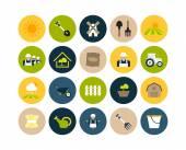 Farm and farming flat icons set — Stock Photo
