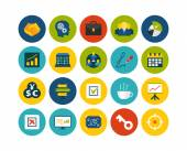 Business and company flat icons set — Stock Photo