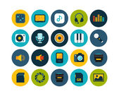 Audio and photo flat icons set — Stock Photo