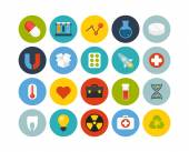 Science and medicine flat icons set — Stock Photo