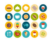 Food and drink flat icons set — Stock Photo