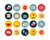 Sales and retail flat icons set — Stock Photo