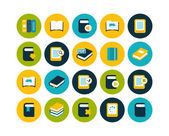 Book flat icons set — Stock Photo