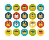 Calendar flat icons set — Stock Photo