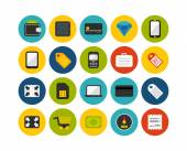 Shopping and finance flat icons set — Stock Photo