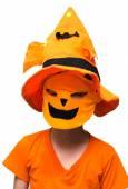 Halloween: Boy  Pumpkin mask Trick Or Treating — Stock Photo