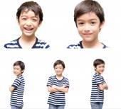 Little handsome boy portrait on white background — Photo