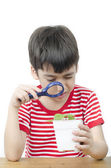 Little boy using magnifier watching new plant on white backgroun — Stock Photo