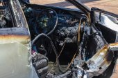 Car interior after fire — Stock Photo