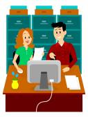 Man Guiding a Woman to Work at Office Clipart — Stock Vector
