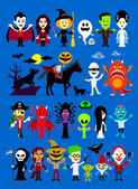Monsters Mash Halloween Characters — Stock Vector