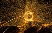 Fireball show amazing at night — Stock Photo
