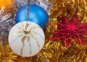 White ball on the Christmas tree — Stock Photo