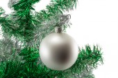White ball on the Christmas tree isolated on white background — Stock Photo