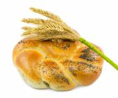 Bun with poppy seeds and wheat ears bunch isolated on white back — Foto Stock