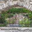 Stone arch with a lattice fence — Stock Photo #65857811