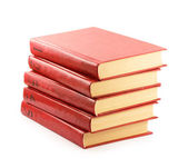 Red books isolated on white background — Stok fotoğraf