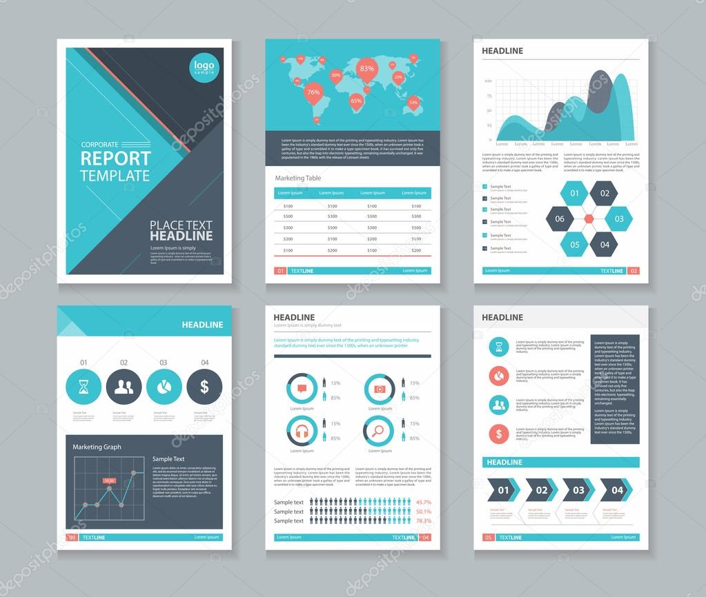company profile annual report brochure flyer page layout company profile annual report brochure flyer page layout template and business info chart element template stock illustration