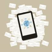 Vektör ileti e-posta iş üstünde hareket eden telefon aygıt — Stok Vektör