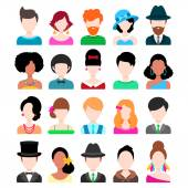 Men and Women Flat Icons Set — Stock Vector
