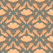 复古无缝模式与装饰的心 — 图库矢量图片