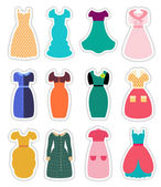 Retro Fashion Dresses Set — Stock Vector