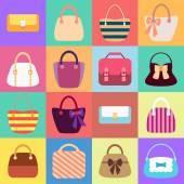 Collection of Retro Woman Bags — Stock Vector