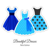 Blue Retro Dresses Background — Vector de stock