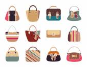 Collection of Retro Woman Bags — Stock Vector