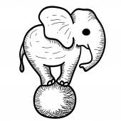 Cute Cartoon Elephant Standing on a Ball — 图库矢量图片
