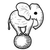 Cute Cartoon Elephant Standing on a Ball — Vettoriale Stock