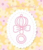 Welcome Baby Card with Rattle — Stock Vector
