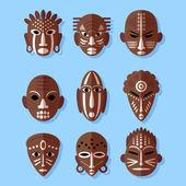 African Mask Icons — Vetor de Stock